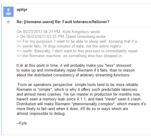 Aphyr response to question about fault tolerance and failover for Riemann 20130542.PNG
